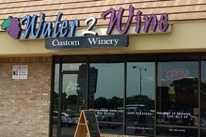 storefront of water 2 wine neighborhood winery austin texas